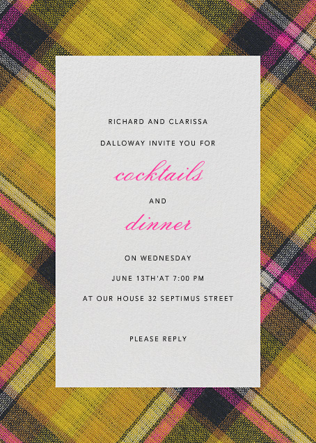 Technicolor Plaid - Oscar de la Renta - Cocktail party