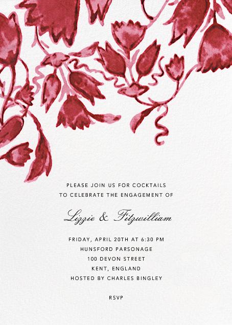 Watercolor Floral - Red - Oscar de la Renta - Engagement party