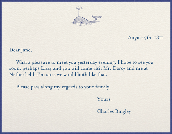 Classic Whale - Paperless Post - Personalized stationery