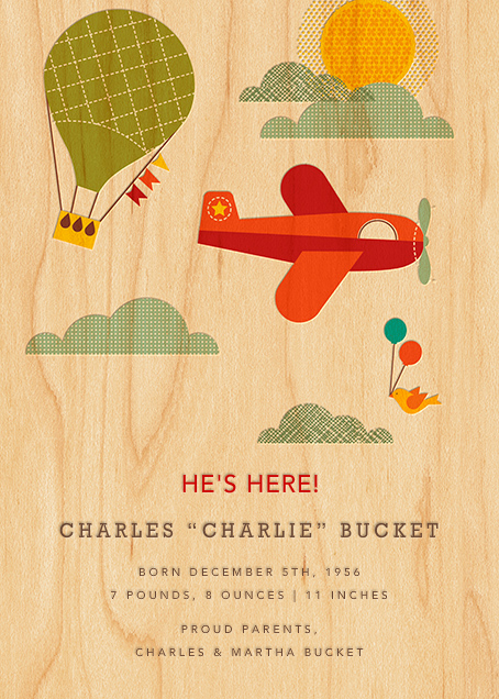 By Air - Petit Collage - Baby boy announcements