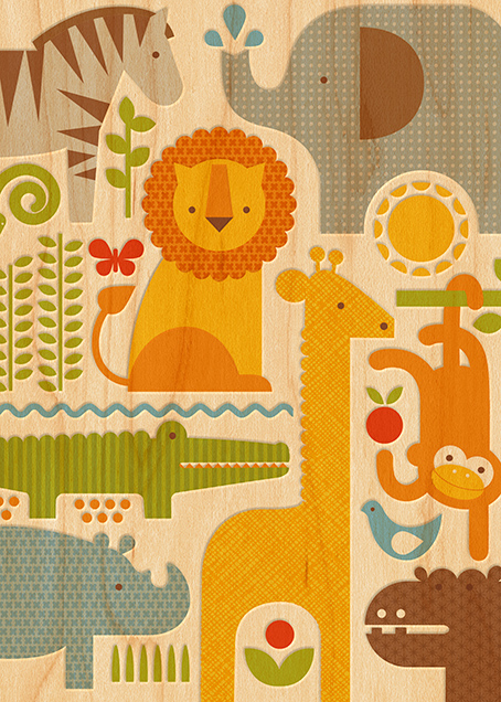 Safari Parade  (Double-sided) - Invitation - Petit Collage - Baby shower