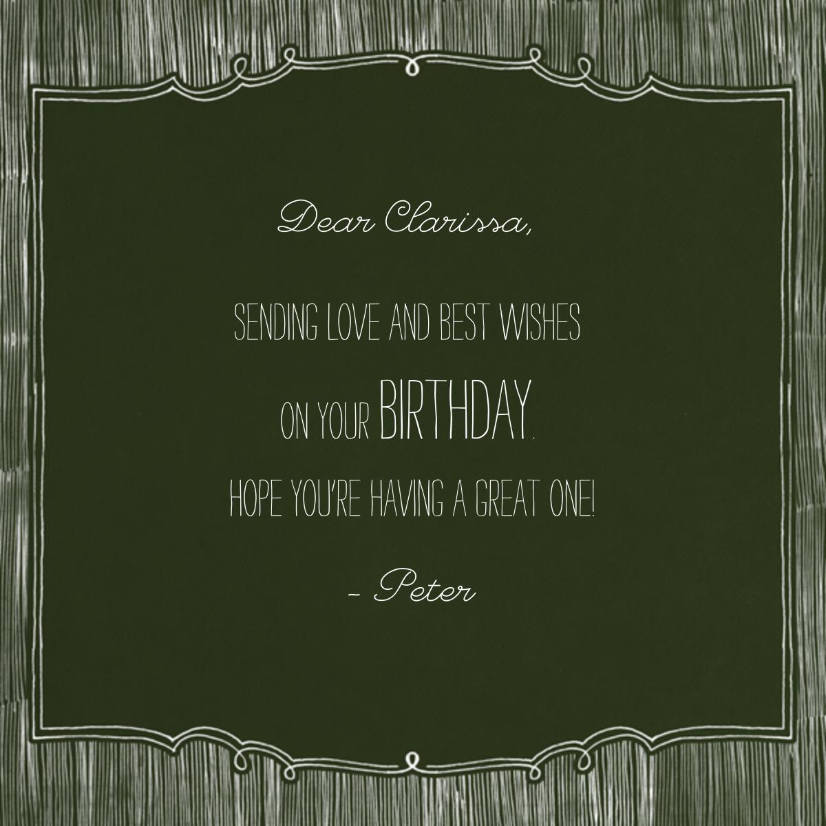 Chalkboard Happy Birthday - Paperless Post - Free birthday eCards - card back