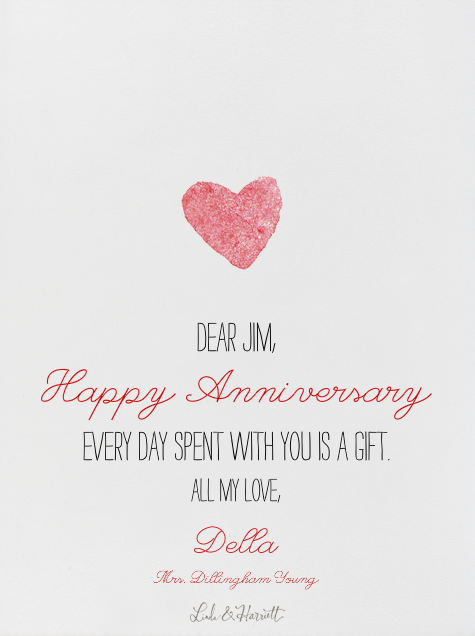 I Love You - Linda and Harriett - Anniversary cards - card back