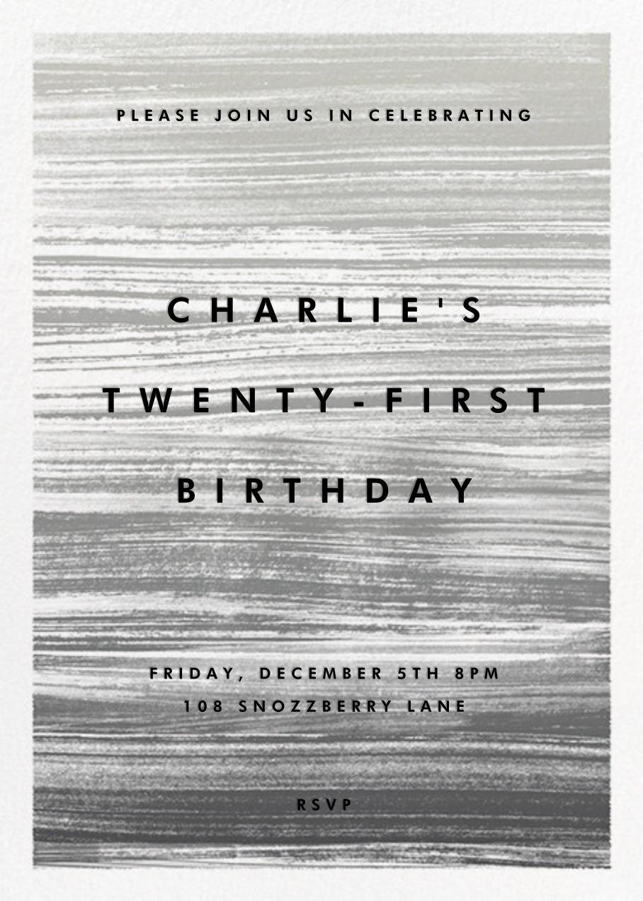 Gradient Messy Strokes - Black - Paperless Post - Adult birthday