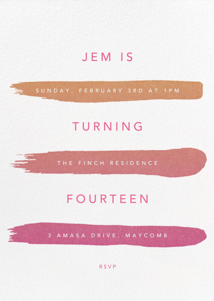 Gradient Brush Strokes - Pink - Paperless Post - Kids' birthday