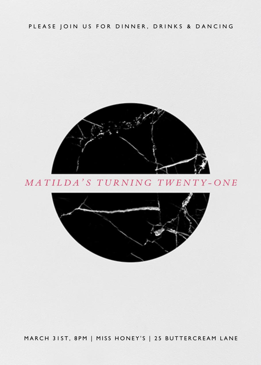 Marble Split Circle - Black - Paperless Post - Adult birthday