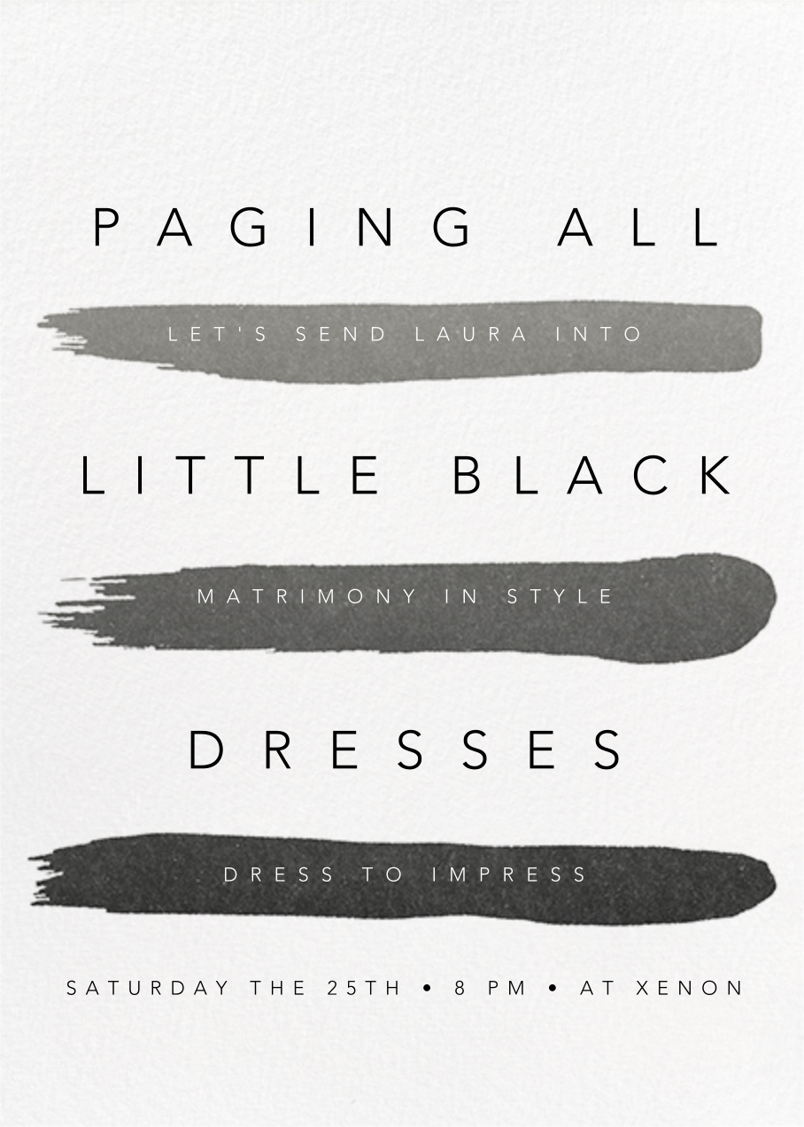 Gradient Brush Strokes - Black - Paperless Post - Bachelorette party