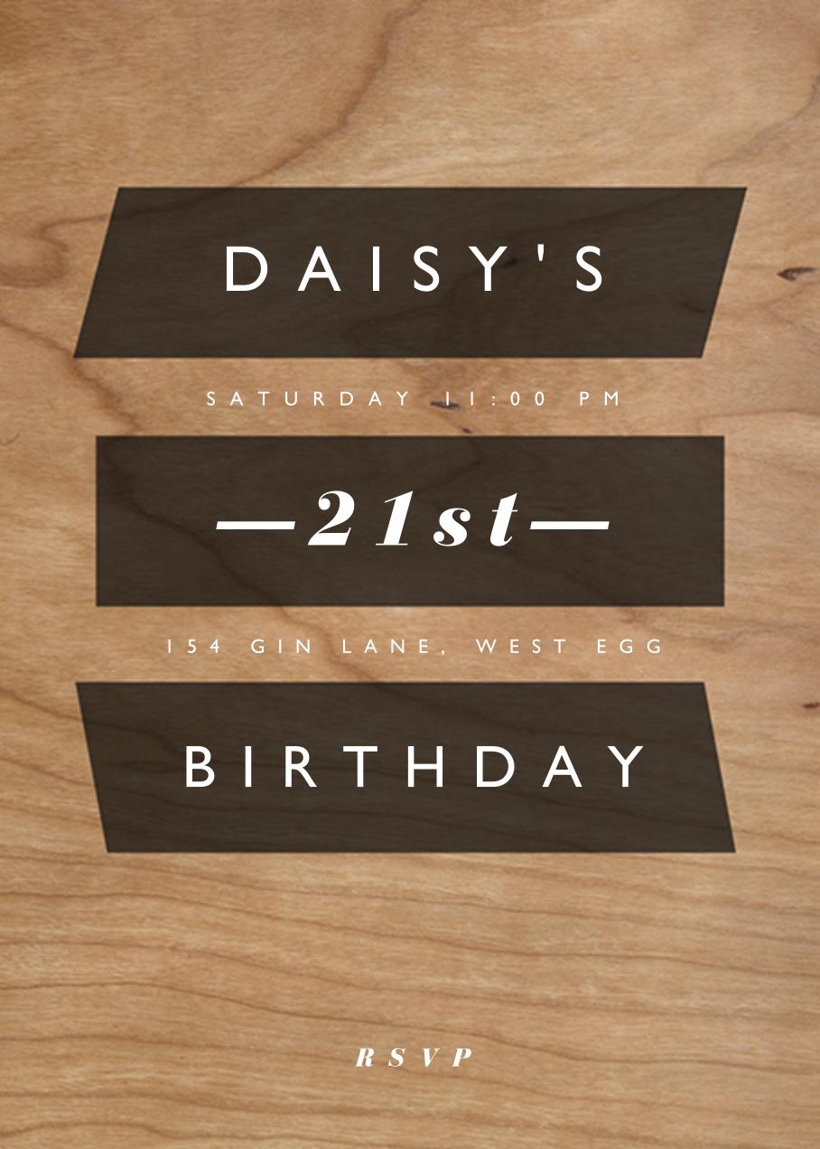 Wood Grain Color Slabs - Black - Paperless Post - Adult birthday