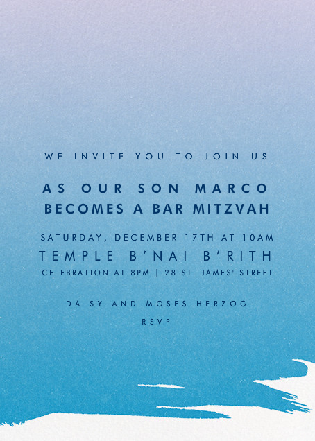 Gradient Painted - Blue - Paperless Post - Bar and bat mitzvah