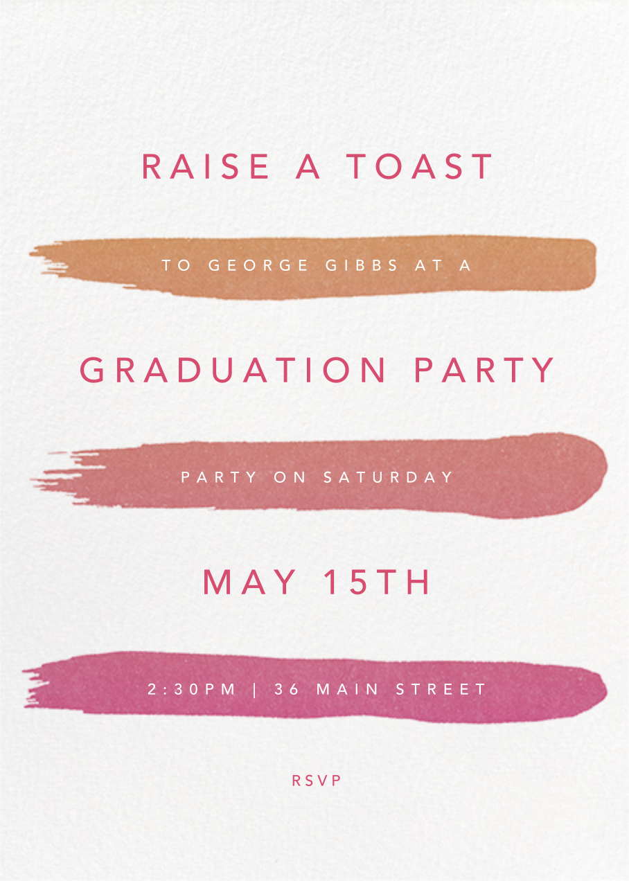 Gradient Brush Strokes - Pink - Paperless Post - Graduation party