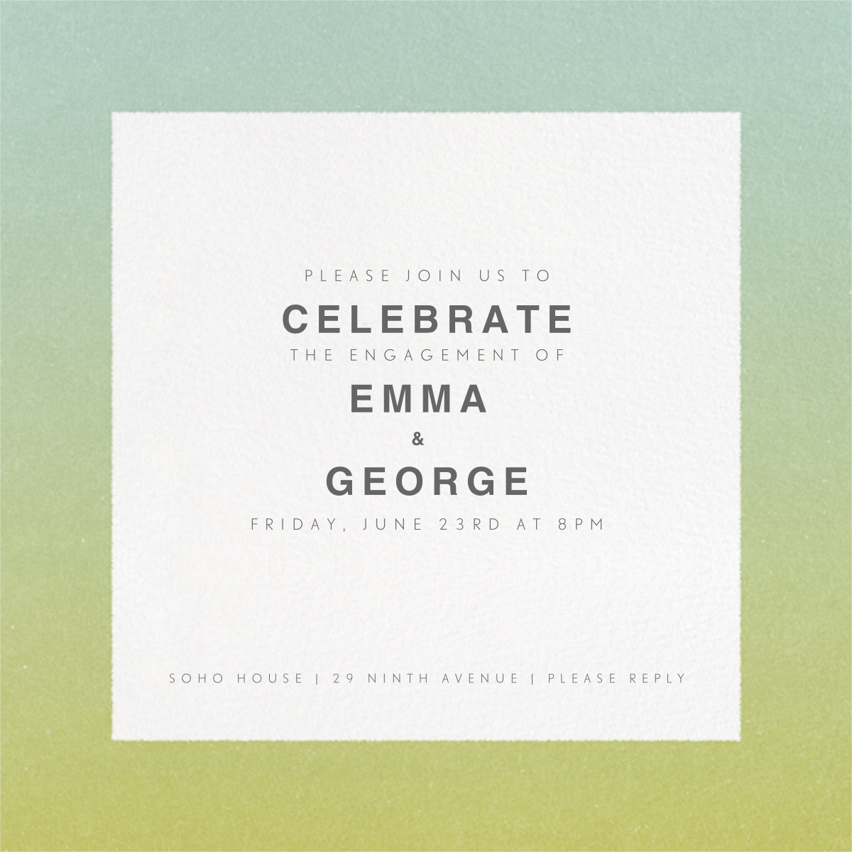 Gradient Border - Green - Paperless Post - Engagement party