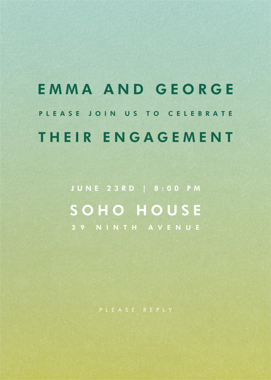 Gradient Full - Green - Paperless Post - Engagement party