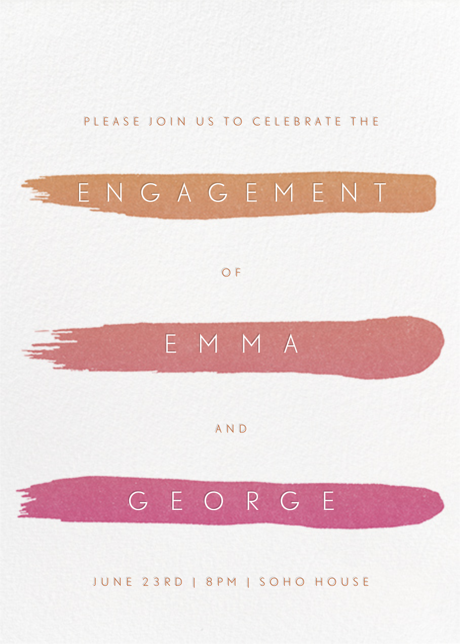 Gradient Brush Strokes - Pink - Paperless Post - Engagement party