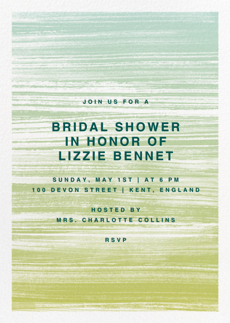 Gradient Messy Strokes - Green - Paperless Post - Bridal shower