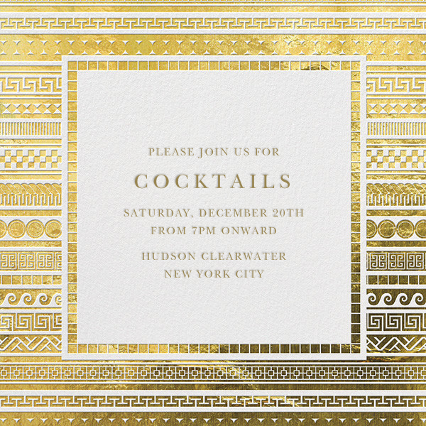 It's Greek - Gold - Jonathan Adler - Holiday cocktail party invitations