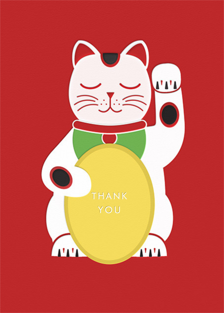 Lucky Cat - Paperless Post - Thank you