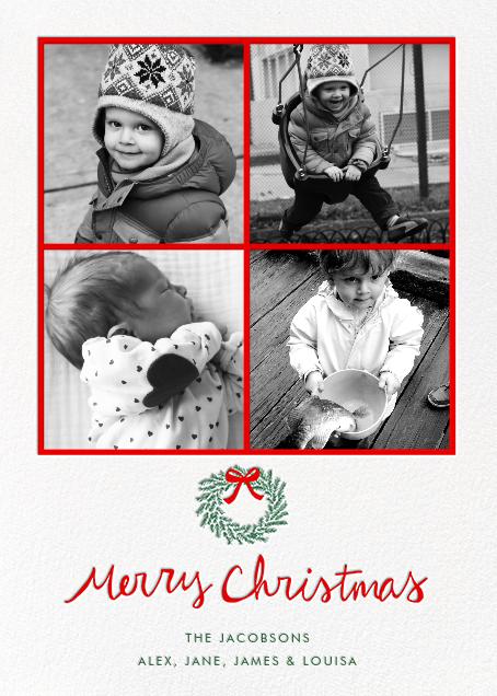 Merry Christmas Wreath (Multi-Photo) - White - Linda and Harriett - Linda & Harriett holiday