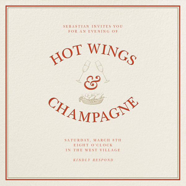 Hot Wings and Champagne - Derek Blasberg - Dinner party