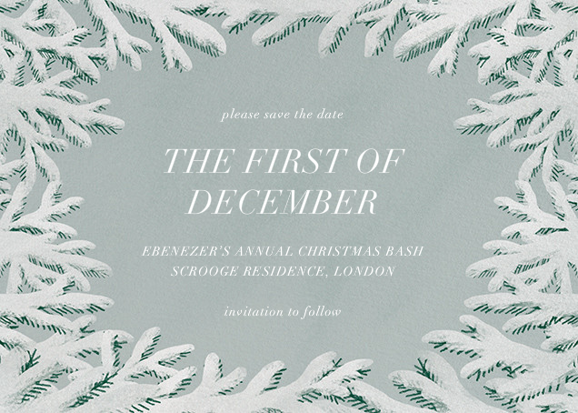 Spruce Clearing - Paperless Post - Holiday save the dates