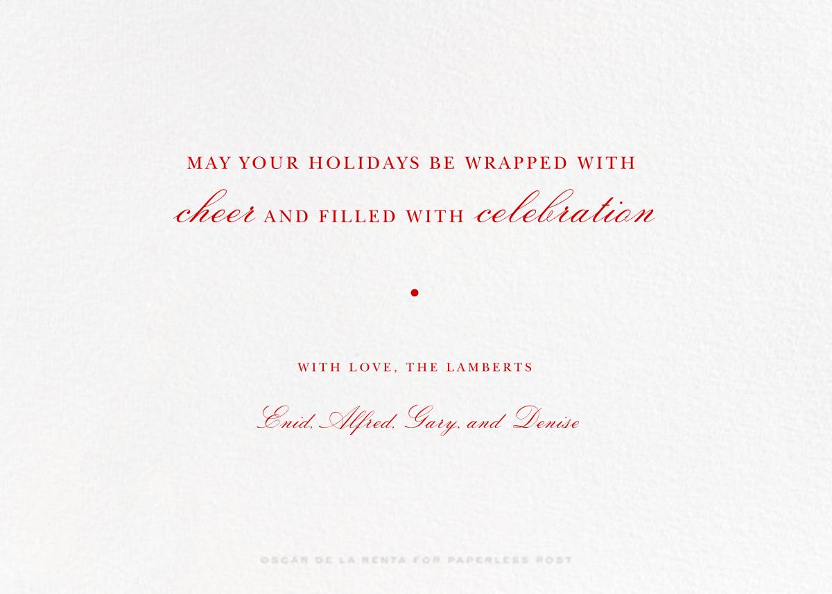 Tartan (Horizontal Photo) - Carnation - Oscar de la Renta - Holiday cards - card back