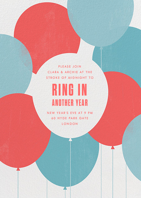 Party Balloons - Red Blue - Paperless Post - New Year's Eve