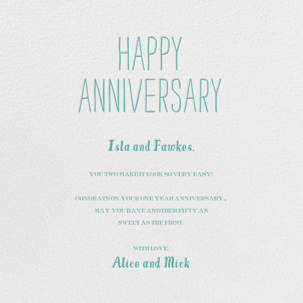 Out At Sea - Teal - Mr. Boddington's Studio - Anniversary cards - card back