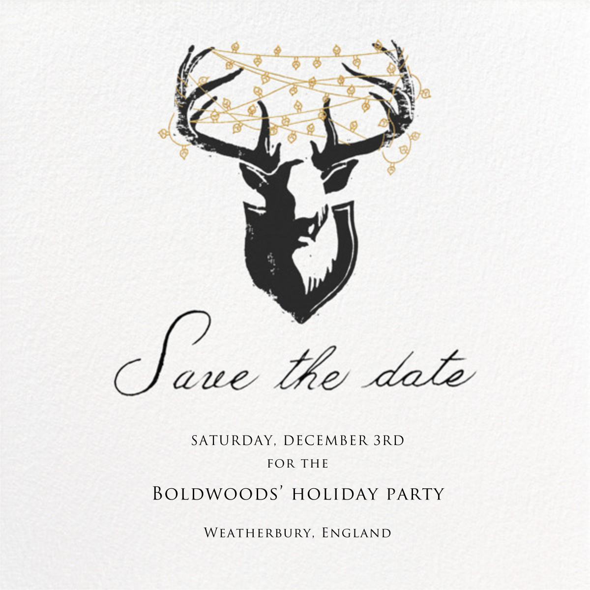 Antler Tangle - Paperless Post - Holiday save the dates