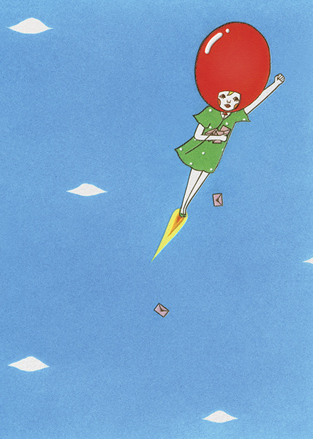 Delivery Balloon Girl (Naoshi) - Red Cap Cards - Birthday