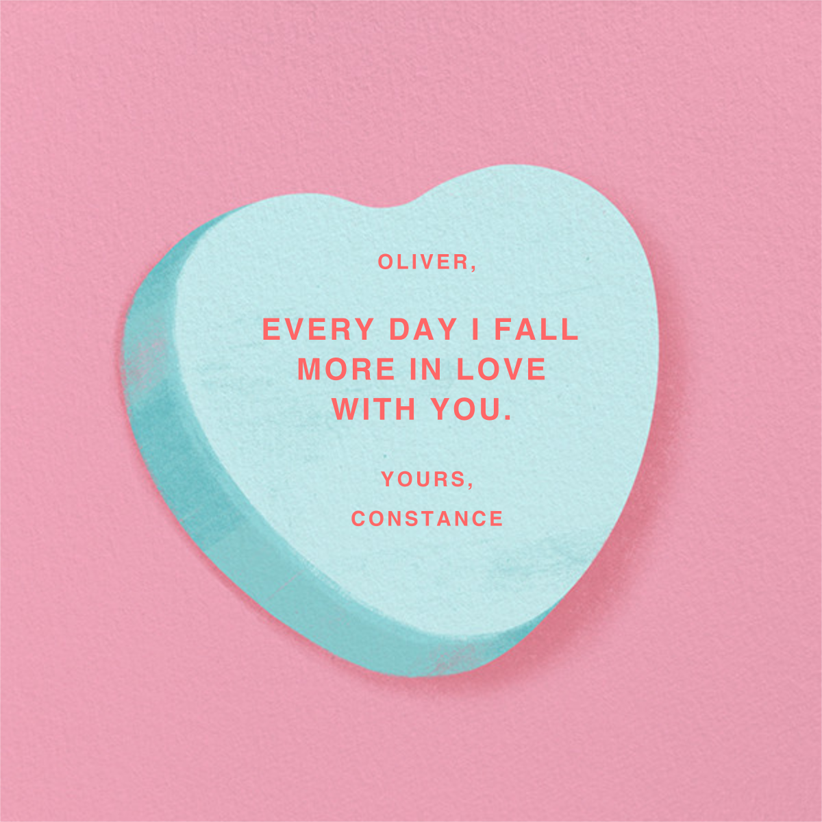 Don't Break My Candy Heart - Blue - Paperless Post - Valentine's Day - card back