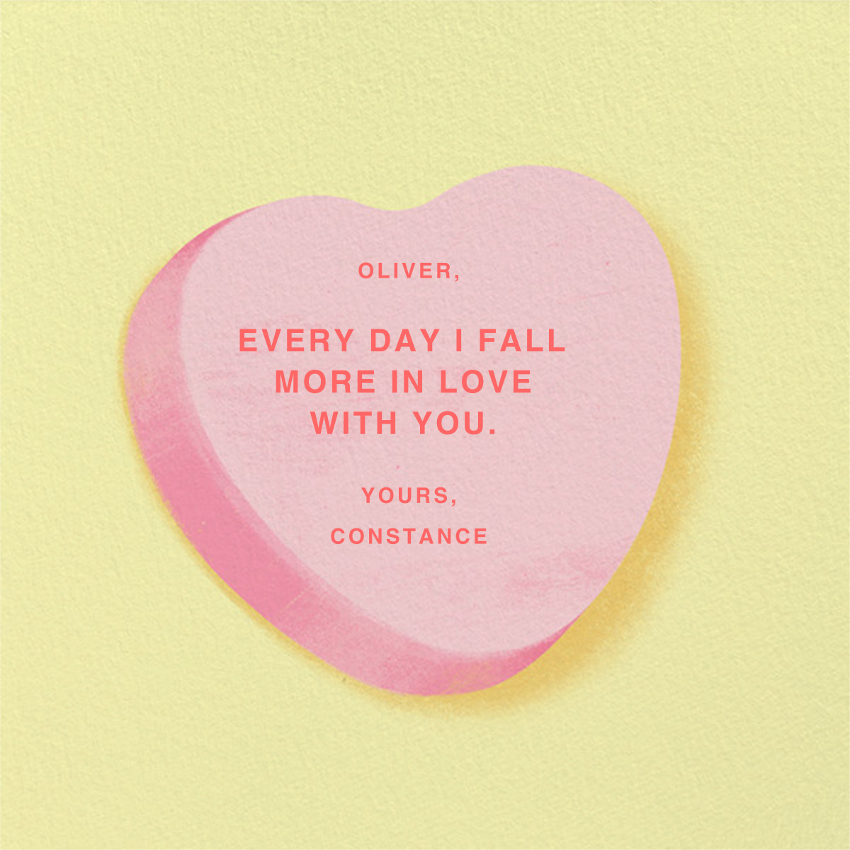 Don't Break My Candy Heart - Pink - Paperless Post - Back