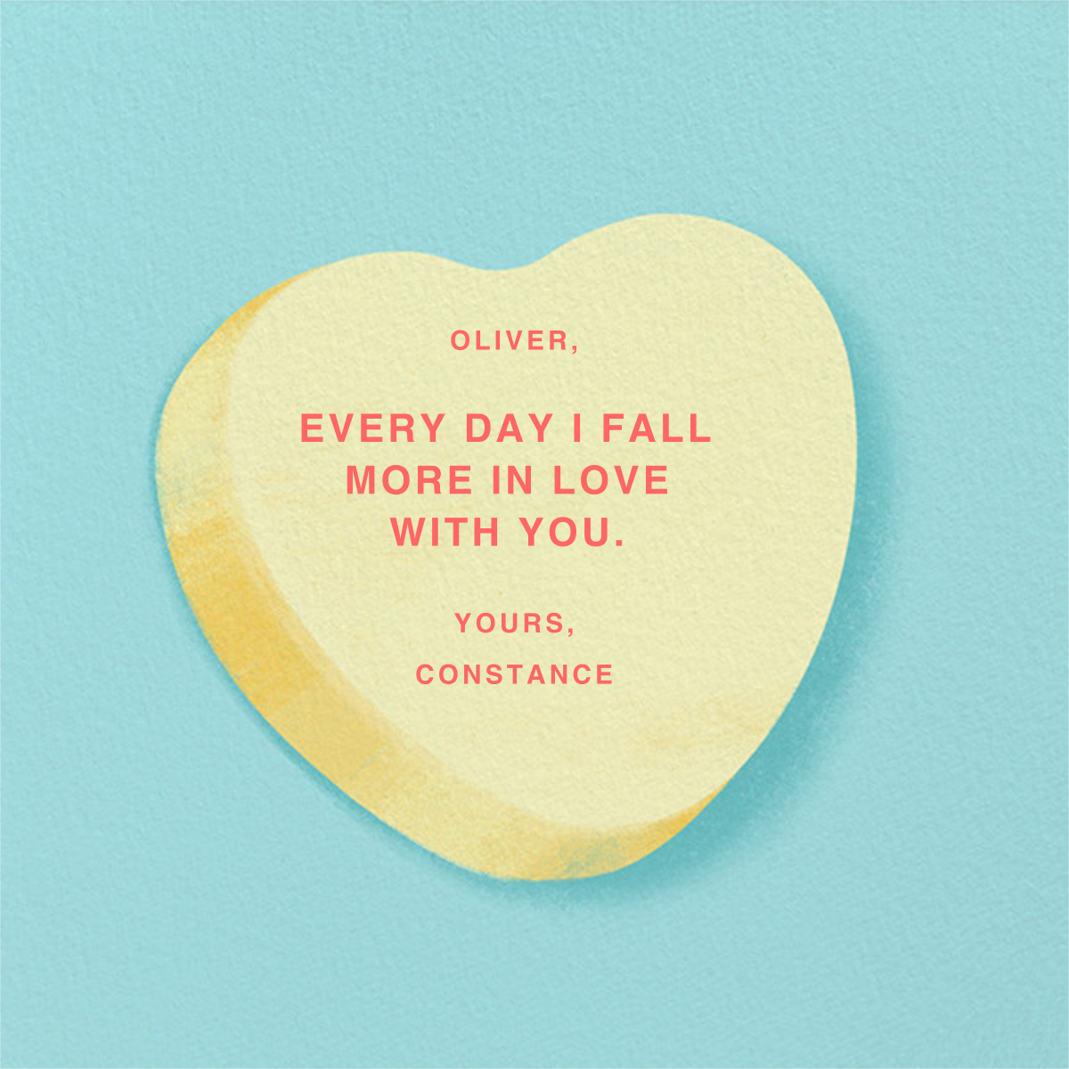 Don't Break My Candy Heart - Yellow - Paperless Post - Back