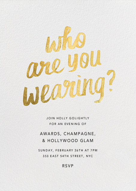 Who Are You Wearing - Paperless Post - Viewing party