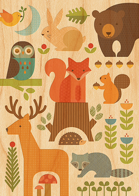 Forest Parade (Double-sided) - Woodgrain - Petit Collage - Baby shower