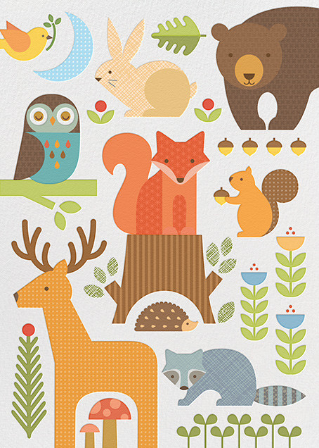 Forest Parade (Double-sided) - White - Petit Collage - Woodland baby shower