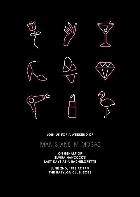 Neon Lights - Bachelorette - Paperless Post - Bachelorette party