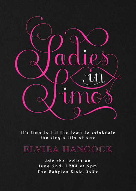 Ladies in Limos - Paperless Post - Bachelorette party