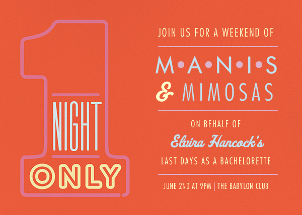 1 Night Only - Red - Paperless Post - Bachelorette party