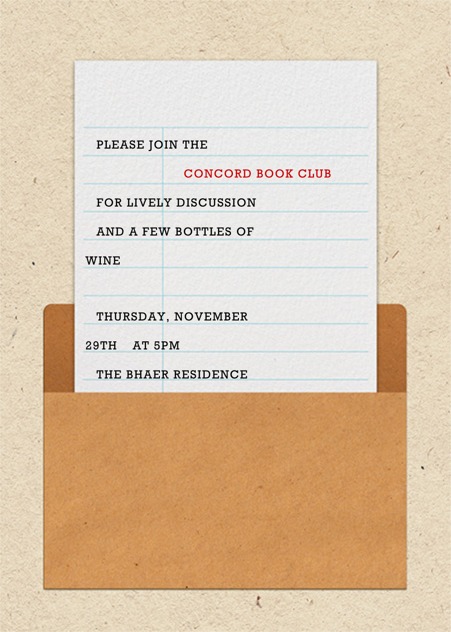Library Card - Paperless Post - Book club