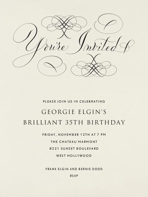 You're Invited - Cream Flourished - Bernard Maisner - Adult birthday