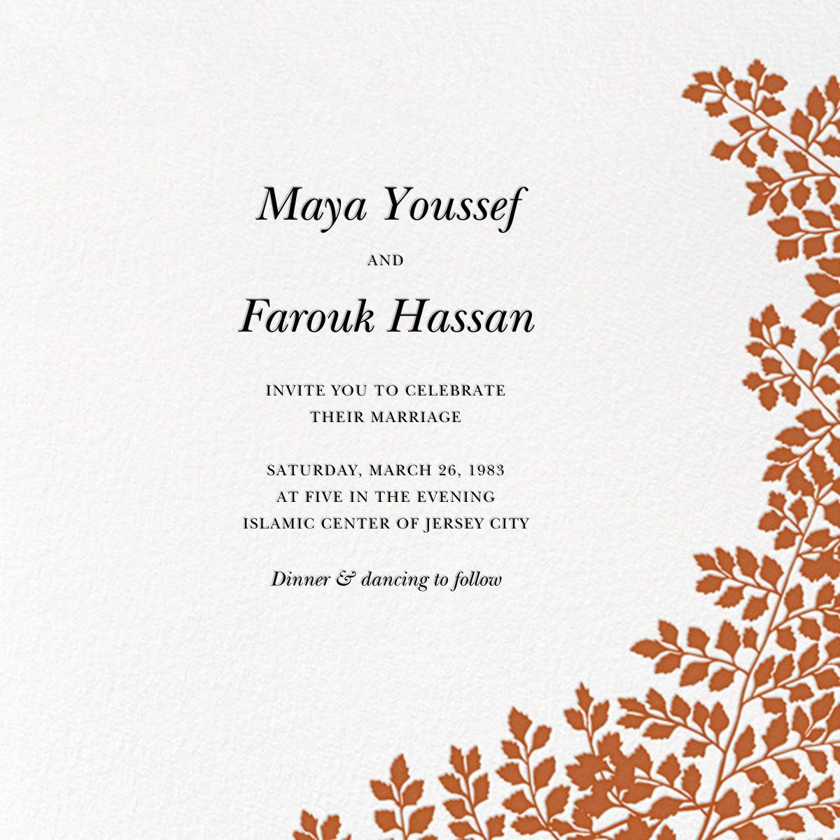 Fern II (Invitation) - Pumpkin - Paperless Post - All
