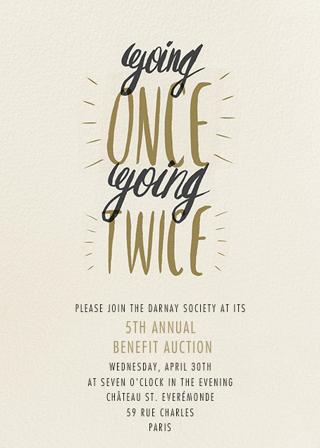 Goin Once Going Twice - Paperless Post - Charity and fundraiser