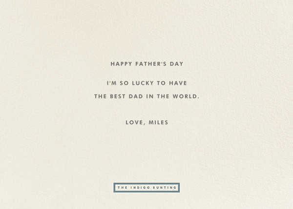 To The Greatest Pop - Blue - The Indigo Bunting - Father's Day - card back