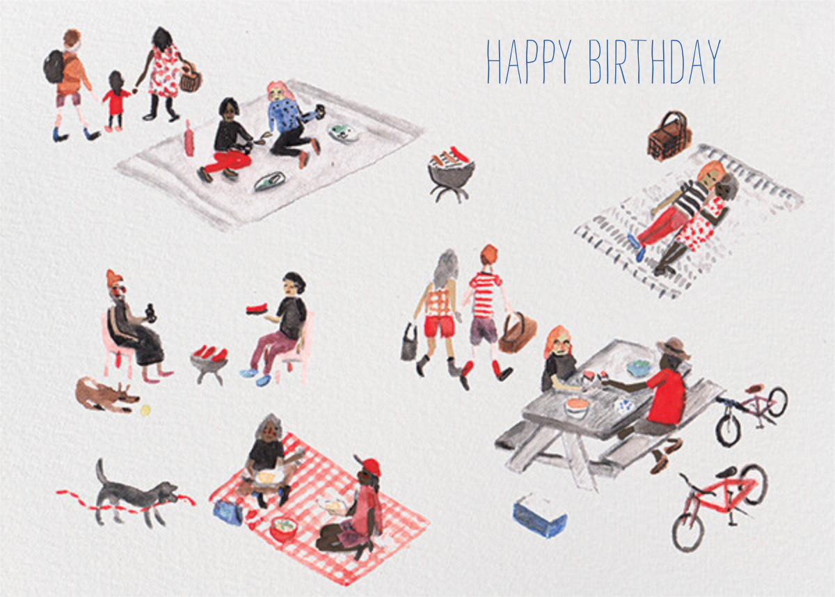 Picnic Park Birthday Card(Sarah Burwash) - Red Cap Cards - Birthday