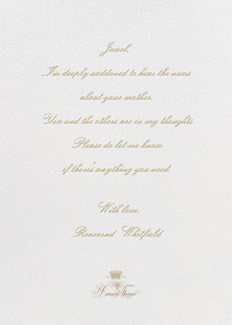 Deepest Sympathies - Ivory - Bernard Maisner - Sympathy - card back