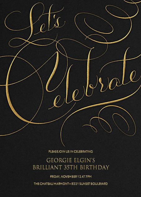 Let's Celebrate Script - Black - Bernard Maisner - Adult birthday