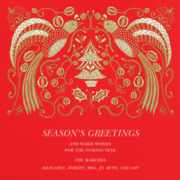Ptichki - Red - Paperless Post - Holiday cards