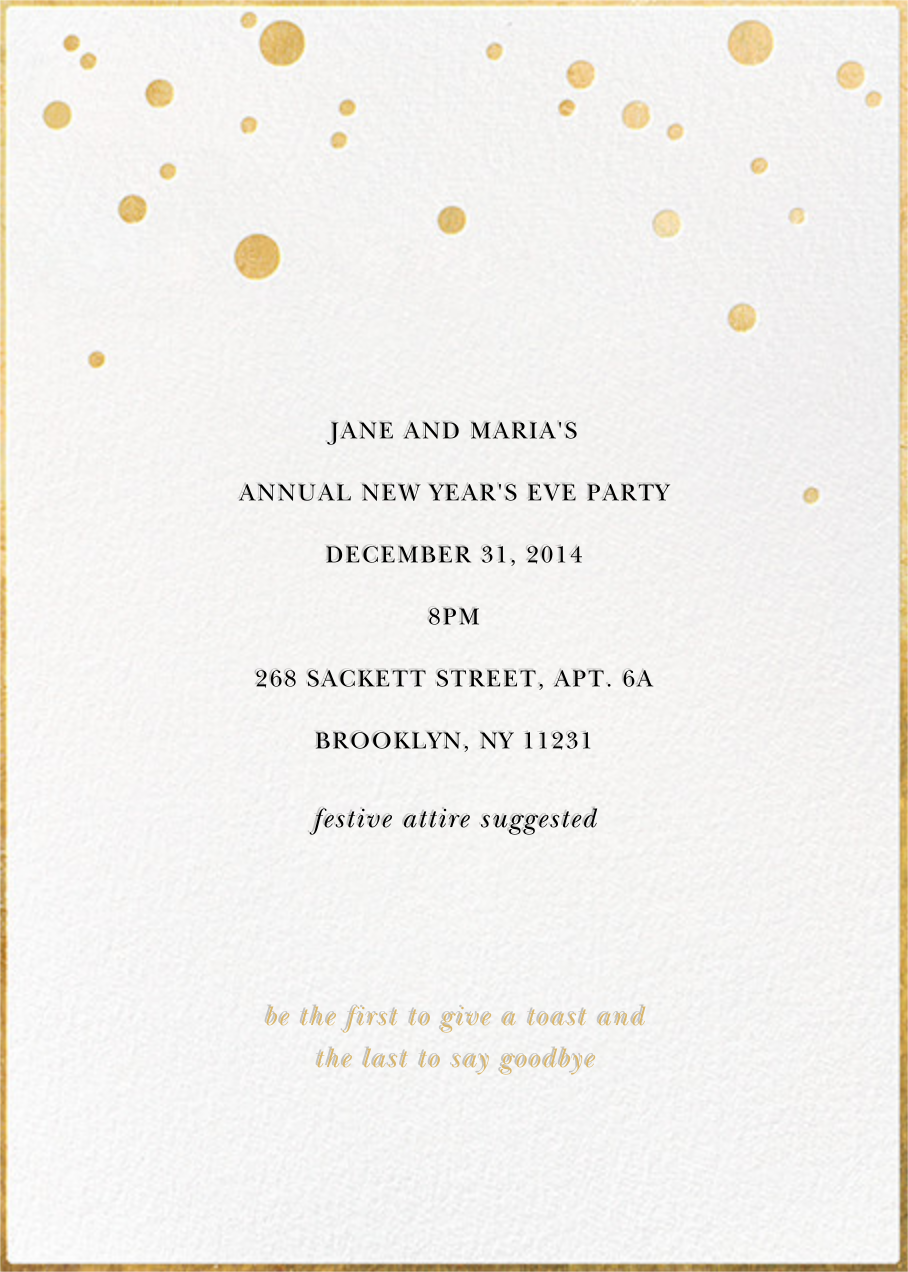 Champagne Bubbles (Double-Sided) - kate spade new york - New Year's Eve - card back