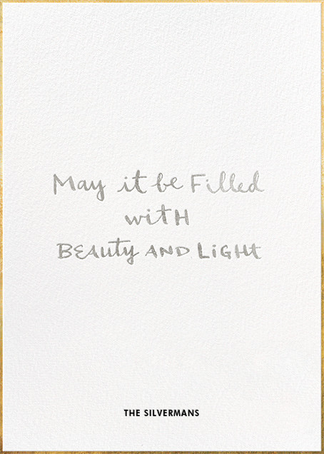 Beauty & Light - kate spade new york - Hanukkah - card back