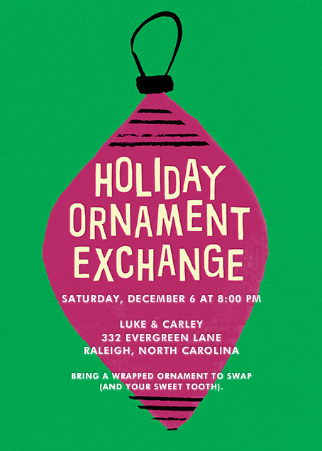 Ornament Exchange - Crate & Barrel - Christmas party