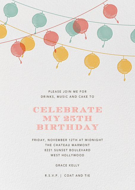 Lanterns - Yellow - Paperless Post - Adult birthday